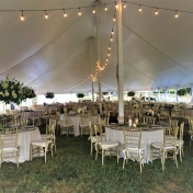 Inside a tent at White Hall set up for a wedding reception